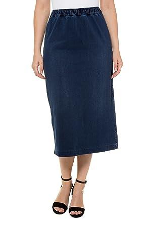 a0346535ca Ulla Popken Women's Plus Size Denim Look Knit Pencil Skirt 717554 at Amazon  Women's Clothing store: