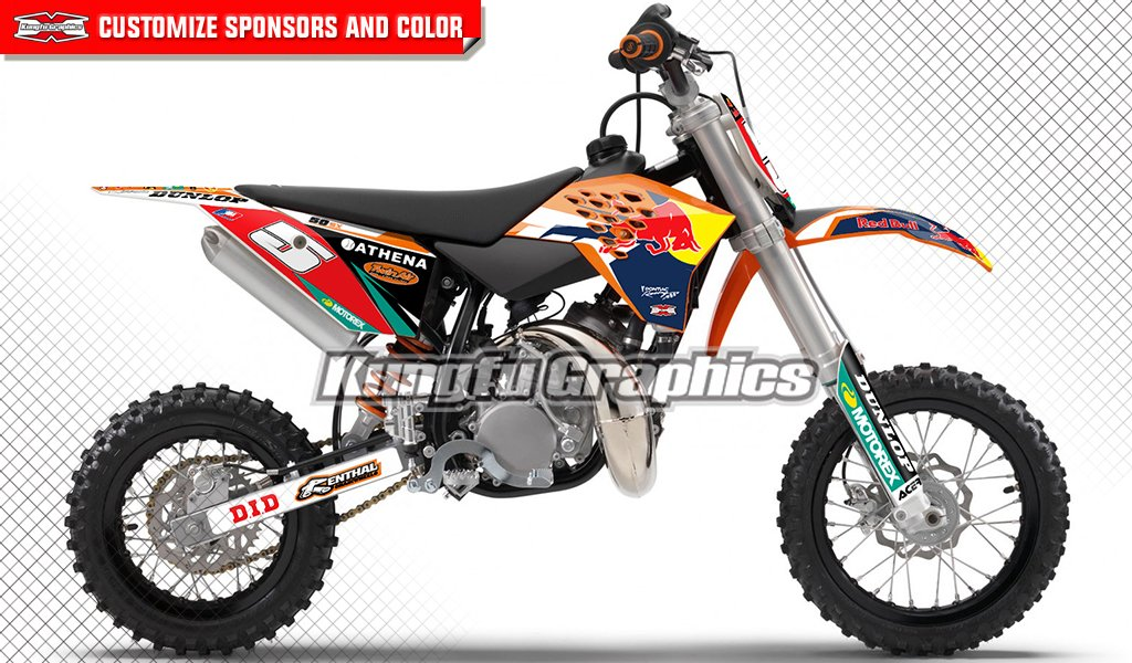 Kungfu Graphics Custom Decal Kit for 50 SX MINI 2012 2013 2014 2015, Black Red Orange Blue