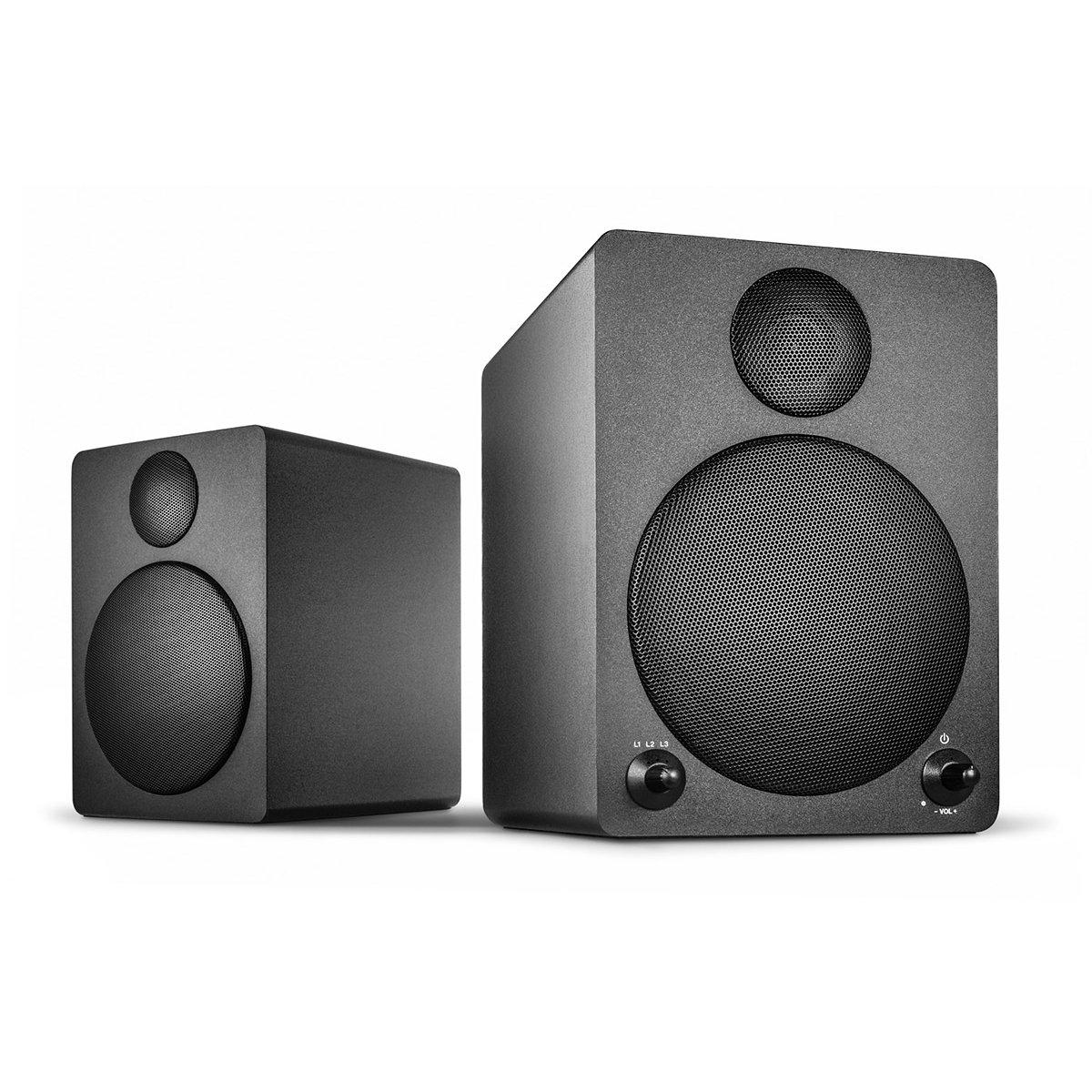 Wavemaster Cube black Regal-Lautsprecher-System (50 Watt) mit Bluetooth-Streaming Aktiv-Boxen Nutzung fü r TV/Tablet/Smartphone schwarz (66320) CUBE 2.0