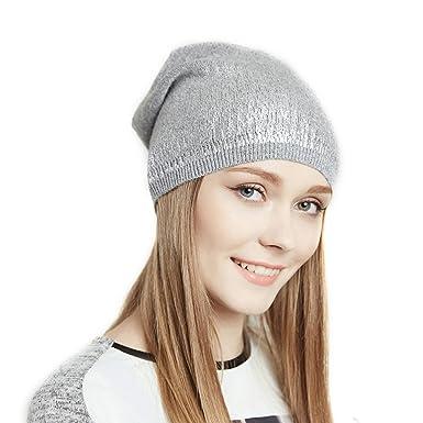 38a1660510773 URSFUR Bonnet Tombant Femme Bonnet Tendance Jersey Tricot Homme Printemps  Gris Clair