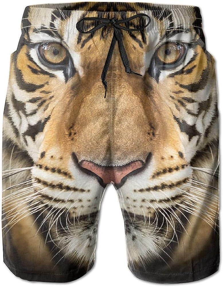 Mens Cool Tiger Animal Quick Drying Ultra Light Beach Pants Swim Trunks