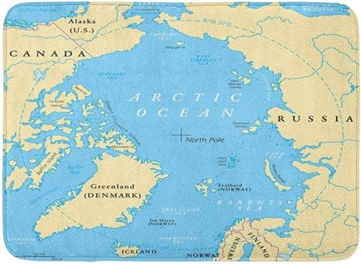 Alfombra de baño Mapa del océano Ártico con el Polo Norte y la ...