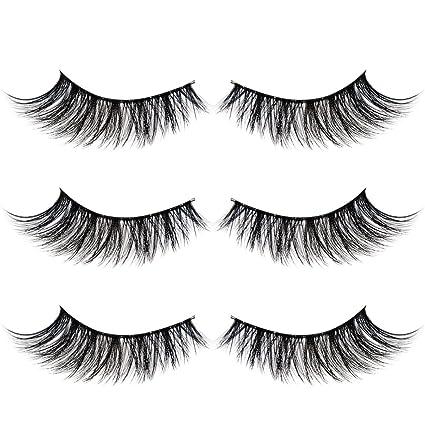 1aece1afb17 Amazon.com: 3D Mink Fur False Eyelashes Extension 3 Pairs Natural Handmade  Reusable Cross Thick Long Volume Fluffy Makeup Fake Eye Lashes: MEPOTI