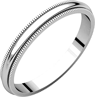 2.5mm Wide Milgrain Comfort Fit Mens and Womens 14k White Gold Plain Wedding Band