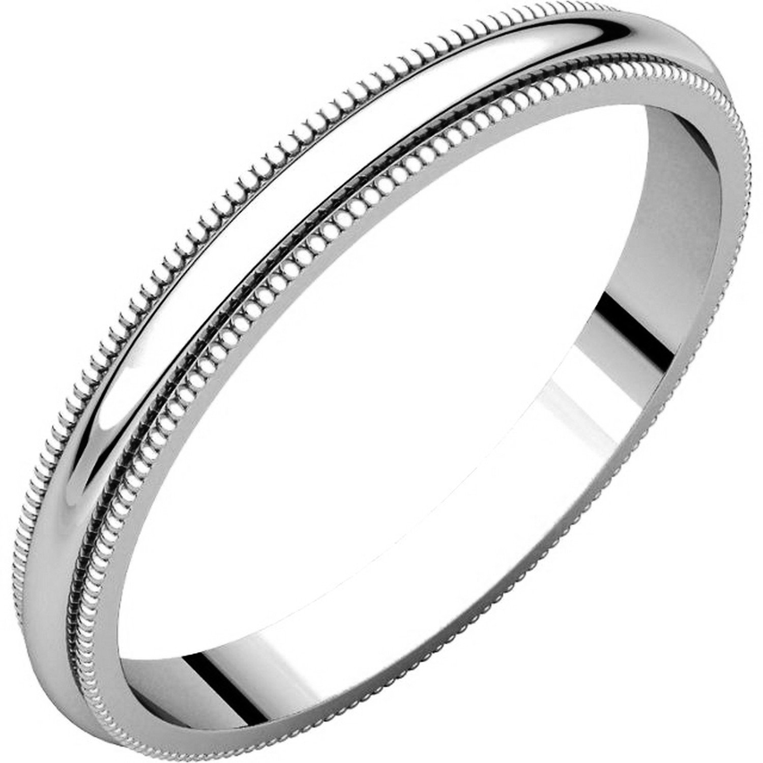 14K Solid White Gold 2.5mm Comfort Fit Men/'s and Women/'s Wedding Band Ring