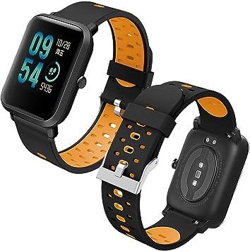 Imagen deTh-some Correa para Amazfit Bip Impermeable Universal - Reemplazo de Pulsera Ajustable para Xiaomi Huami Amazfit Bip bit Lite Youth/Amazfit GTR 42mm Watch, Negro y Amarillo Nuevo Sin Tracker