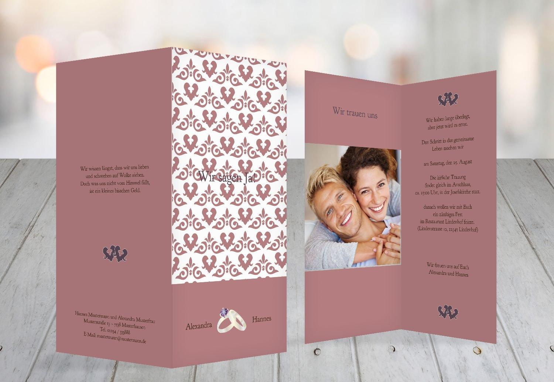 Kartenparadies Hochzeitskarte Einladung Ornament mit Herz, Herz, Herz, hochwertige Einladung zur Heirat inklusive Umschläge   10 Karten - (Format  105x215 mm) Farbe  Rosadunkellila B01N24JJ0M   Qualitätsprodukte    Bevorzugtes Material    Hohe Qualität und Wir 41da6f