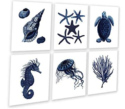 77630a1a206 Image Unavailable. Image not available for. Color  Dark Navy Blue Beach Wall  Art Decor Set ...