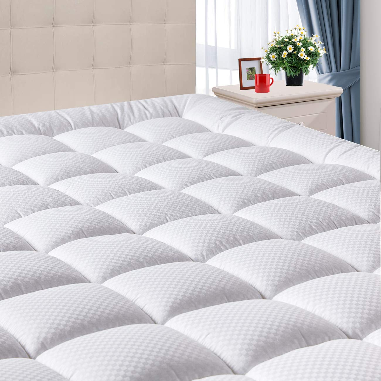 Domicare Queen Mattress Pad Cover with Deep Pocket (8''-21'') - Cooling Pillowtop Cotton Quilted Mattress Pad - Down Alternative Hypoallergenic Fitted Mattress Topper