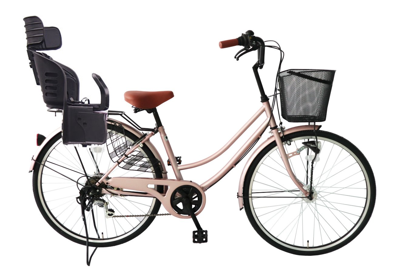 Lupinusルピナス 自転車 26インチ LP-266UA-KNRJ-BK 軽快車 シマノ外装6段ギア オートライト 樹脂製後子乗せブラック B07CPSCVSTシャンパンピンク