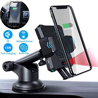 Blaulock Wireless Car Charger Mount,15W QI Fast Charging Auto-Clamping Car Mount Windshield Dash Air Vent Phone Holder Compatible iPhone 11/11pro/11Pro Max/Xs/XR/X/8/8+ Samsung S10/S10+/S9/S9+/S8+: Home Audio & Theater