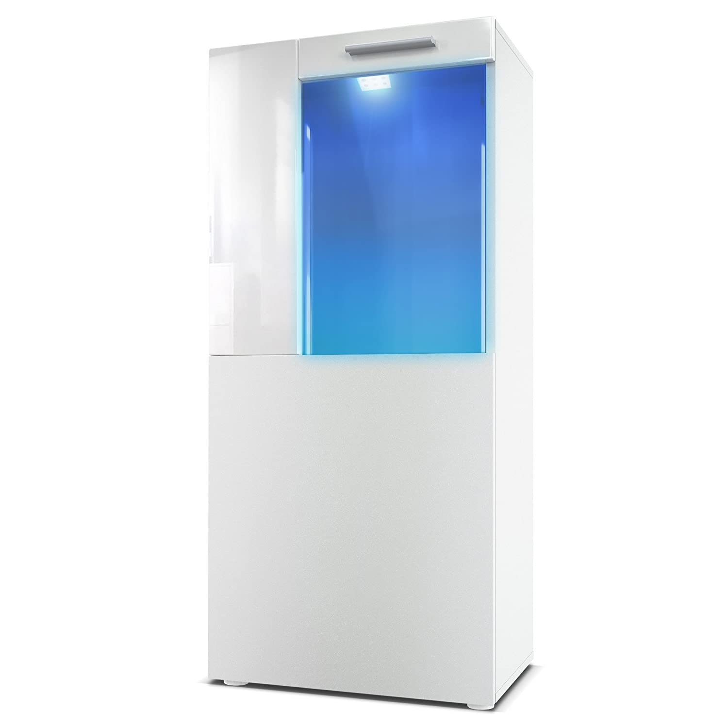 Tall Display Cabinet Cupboard Movie, Carcass in White matt / Front in White matt with Offsets in White High Gloss with LED lights in Blue [Energy Class A] Vladon