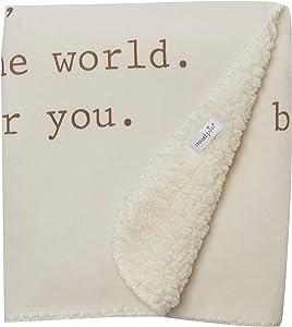 Mud Pie 2102245 Sherpa Blanket, Off-White