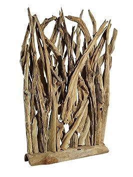 Paravent Salon Décoration Sculpture en bois flotté de teck ...