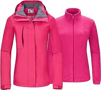 CAMELSPORTS Women's Ski Jacket for Winter 3 in 1 Waterproof Windproof Snow Hooded Jacket with Warm Fleece Liner Jacket - Pink - Medium