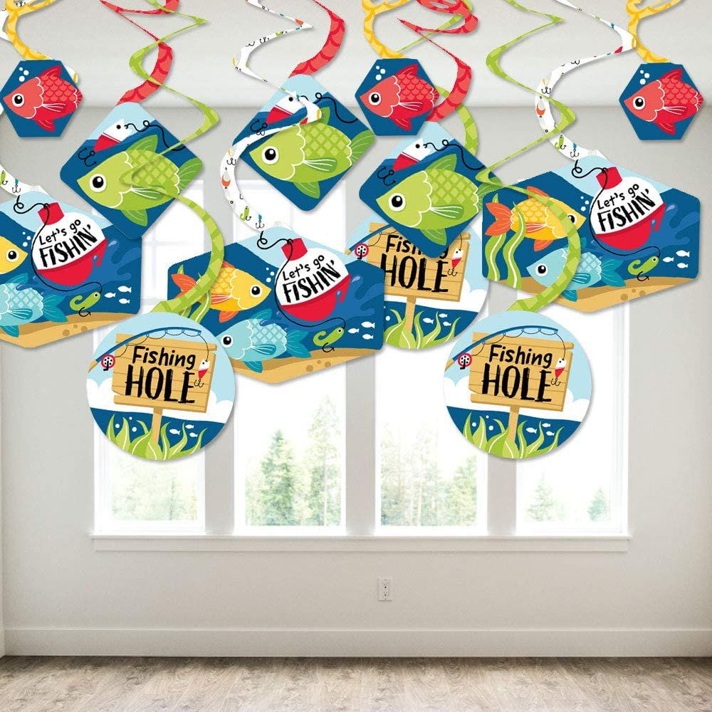 Big Dot of Happiness Let/'s Go Fishing Party Decoration Swirls Set of 40 Fish Themed Birthday Party or Baby Shower Hanging Decor