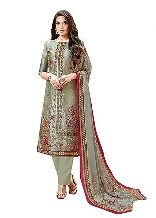 7196521fa6 BKRKJ Women's Pure Zara Silk Fabric Unstitched Salwar Suit Material ...