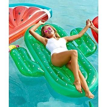CHENGYI cama flotante, Fila flotante inflable del cactus, flotador de la piscina juguete inflable Silla reclinable del agua de la cama del adulto y del niño ...