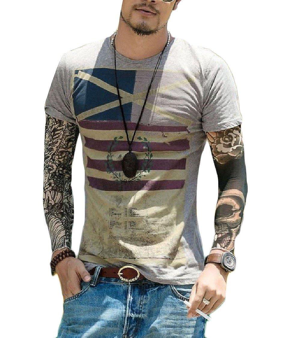 GodeyesMen Short Sleeve Popular Striped Printed Crew-Neck Flag T Shirt Tunic