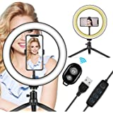 "LED Ring Light 10"" with Tripod Stand & Phone Holder - Dimmable Desk Makeup Ring Light for YouTube Video Live Stream…"
