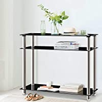 Artiss Hallway Console Table Tempered Glass Top Stainless Steel Entryway Display Stand