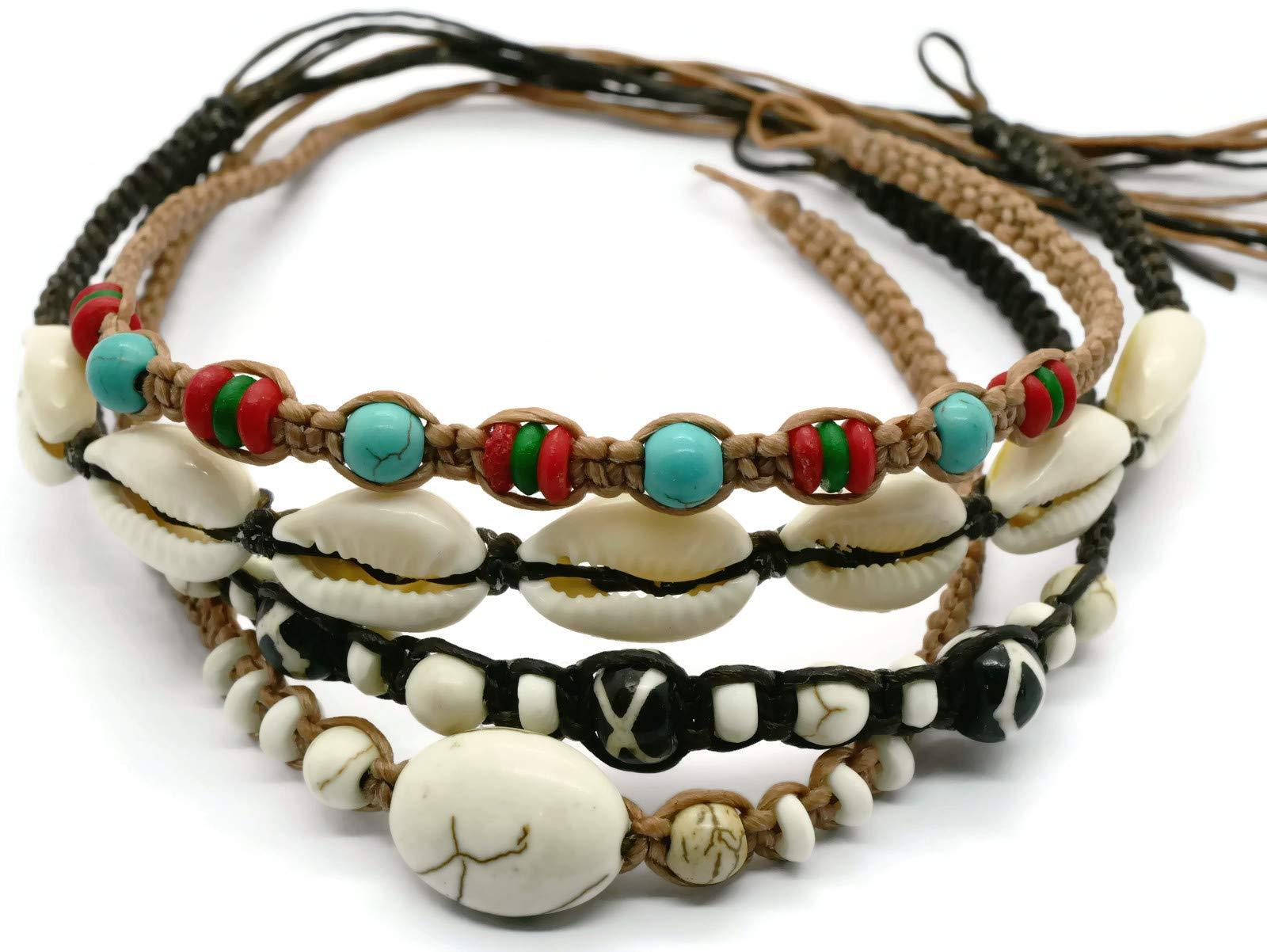 BrownBeans, Macrame Cord Reggae Summer Casual Wear Anklet Ankle Bracelet for Large Ankle (CAKT10001) (L)