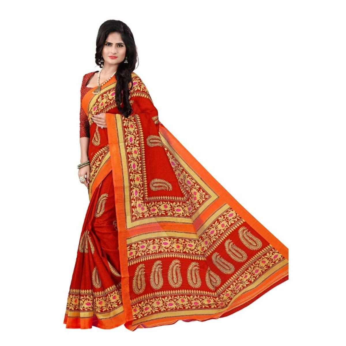 Florence Women's Red Bhagalpuri Silk kalamkari Printed Saree With Un-Stitched Blouse(FL-12450_Free Size)