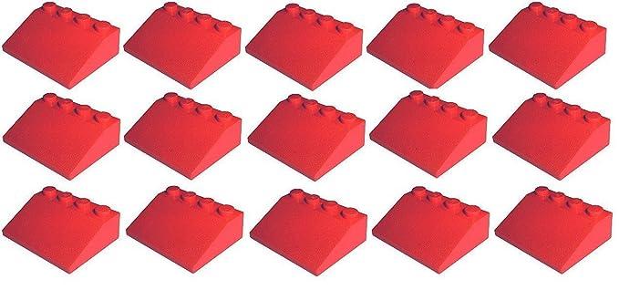 Lego 100 rote Dachsteine 1x2 Schrägsteine Dachstein in rot Neu City Basics 3040