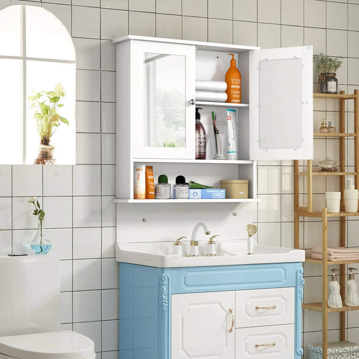 Amazon Com Kovalenthor Double Doors Shelves Bathroom Wall Storage Cabinet Wooden Storage Cabinets Organizer White Kitchen Dining