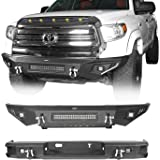 Hooke Road Tundra Bumper Combo Full Width Front Bumper & Rear Step Bumper Compatible with Toyota Tundra Pickup Truck 2014 201
