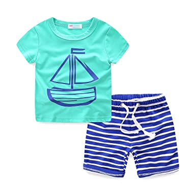 28b74d08966b LittleSpring Baby Boys Summer Outfit Cartoon T-Shirt and Stripe Shorts 2PCS  Set Mint Green