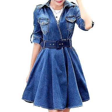 18848e349c8a Scothen Jeans pour femmes jupe manches longues jeans partie mini-jeans robe  chemisier printemps été