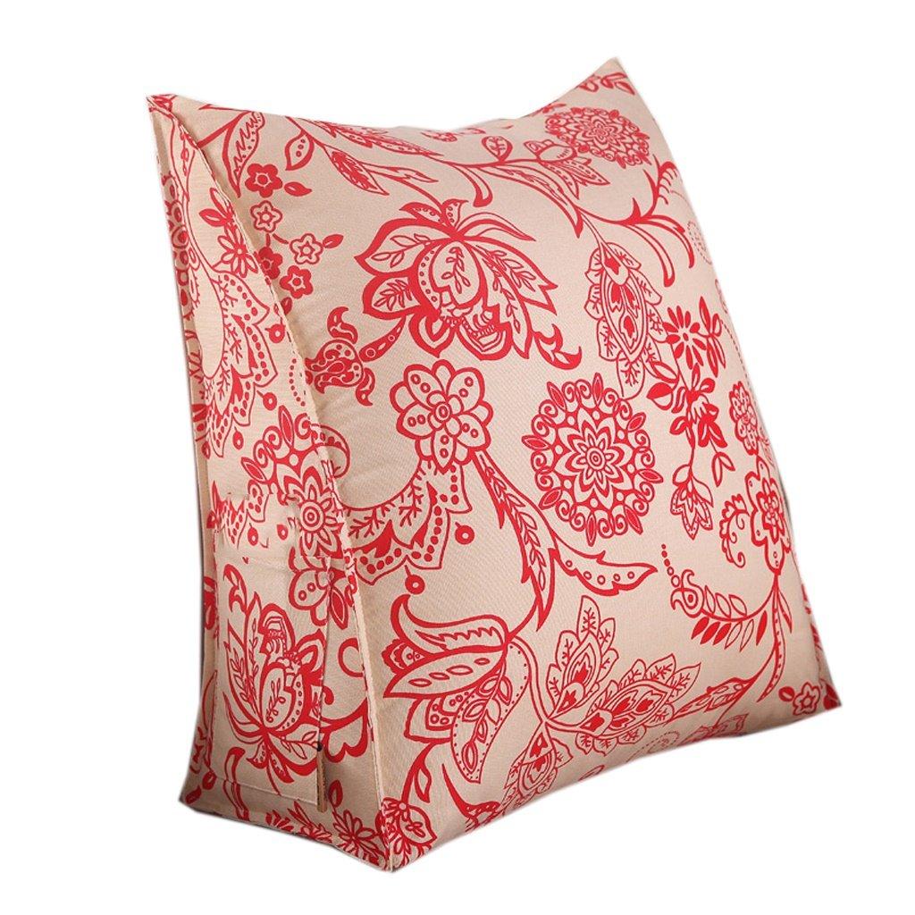 Couleur : V Oreiller triangle 50cm Modern Triangle Sofa Cushion Design ergonomique avec oreiller à tête amovible Coussin de chevet Pure Color Slow-rebound Backrest Pillow Flower Pattern 45
