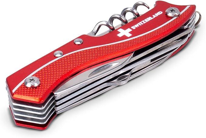 11 in 1 Multifunktionswerkzeug Sackmesser mit 11 Funktionen Multifunktionstool Switzerland 9 cm TopSpirit/® Taschenmesser Switzerland aus Holz