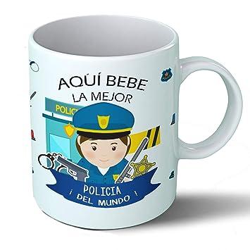 Planetacase Taza Desayuno Aquí Bebe la Mejor policía del Mundo Regalo Original policias Ceramica 330 ML: Amazon.es: Hogar
