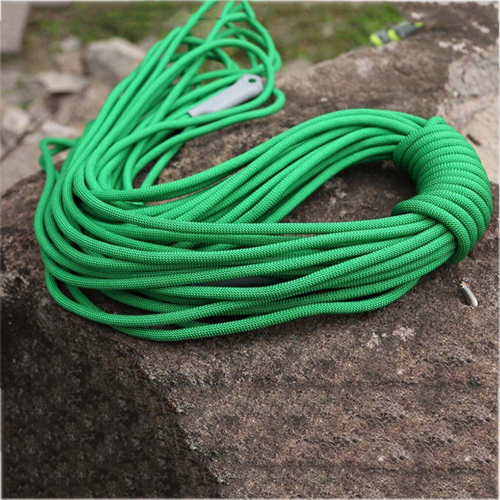 Green Diameter 9.5 mm 20M Climbing rope Outdoor Safety Rock Climbing Rope,Cord Caving Rappelling Survival Auxiliary Cord,Climbing Equipment With Carabiner,Household Lifeline Wear Outdoor