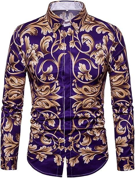 Hombre Camisa púrpura Entallada Camisa Flores Impreso Vintage Cuello Manga Larga Slim Fit: Amazon.es: Deportes y aire libre