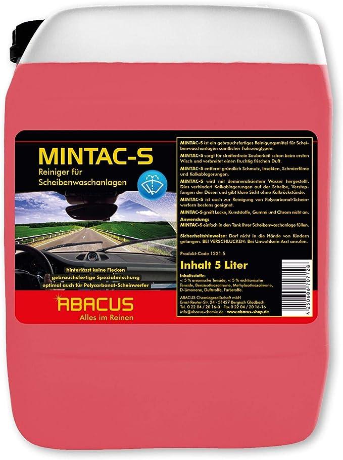 Abacus MINTAC-S Limpiador Listo para Usar para limpiaparabrisas, 5 litros: Amazon.es: Coche y moto