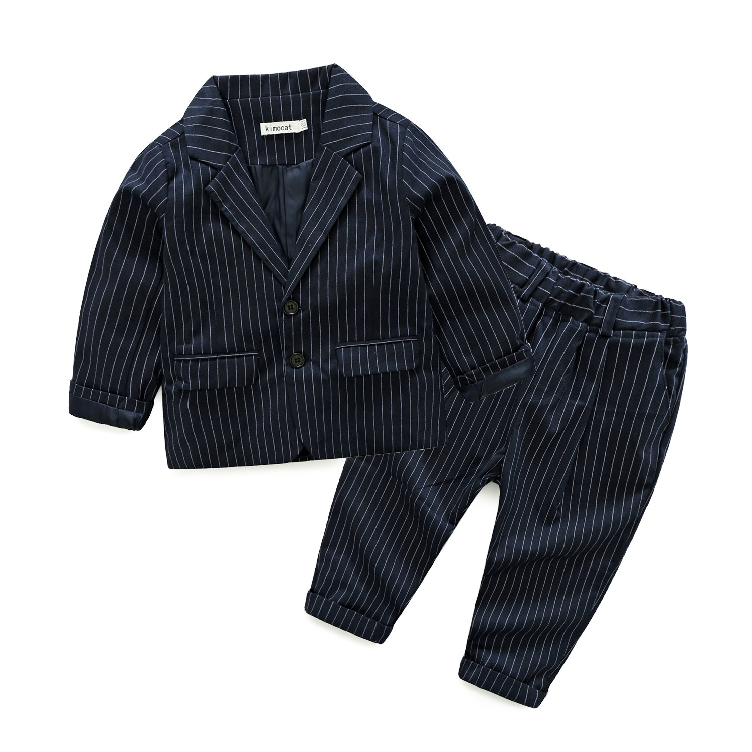 Pinstripe Suit Set for Boys Formal Dresswear Cotton Jacket and Pant, Black & Navy Blue, 2Y-7Y (4T, Navy Blue)