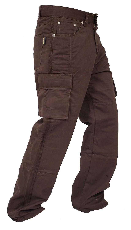 Los hombres protectores de la motocicleta Moto Pantalones Vaqueros de trabajo Carga de aramida revestimiento de protecció n reforzada Cargo-dbrown-36-30