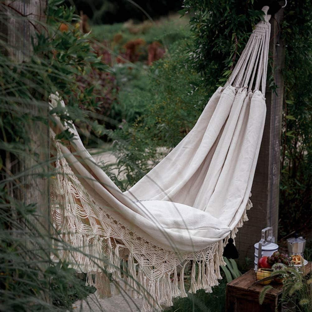 hammock Hamaca Doble e Individual Hamaca de Lona Hamaca de Borla Adecuado para Interior al Aire Libre