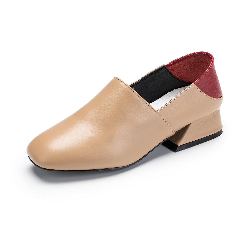 Shoioi Genuine Leather Square Toe Middle High Heel Unique Pumps for Women B07CW912RL EU 38/ US 7-7.5|Apricot