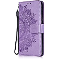 Case iPhone 7/8, Bear Village® Leather Embossed Design Case with Card Holder and ID Slot, Magnetic PU Flip Stand Cover for Apple iPhone 7 / iPhone 8 (#3 Purple)