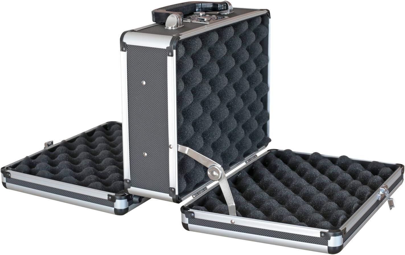 HMF 14411-02 Maleta de Aluminio para 2 Pistolas | Doble Cara | 31 x 26 x 15 cm | Negro