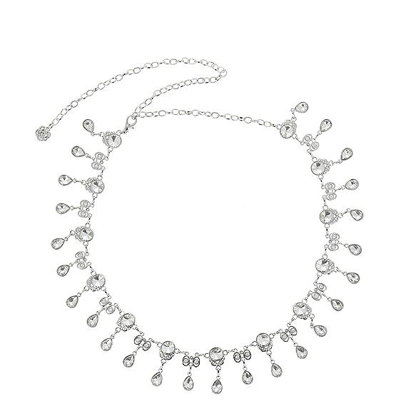 f670479219f5 FASHIONGEN - Ceinture chaîne pendantes à strass pour femme, Taille  Réglable, ALMA - Argenté