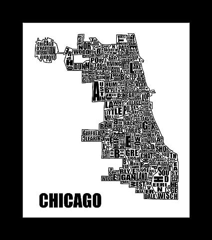 Chicago Map Canvas.Amazon Com Chicago Map Typography Canvas Art Print Black White
