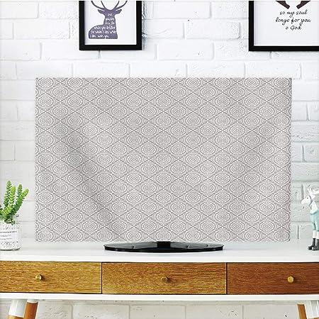 Cubierta de polvo para televisor LCD de gran durabilidad, plata, diseño floral simétrico con azulejos victorianos antiguos, decoración abstracta de tema floral, color blanco tostado, diseño de impresión de imágenes compatible con