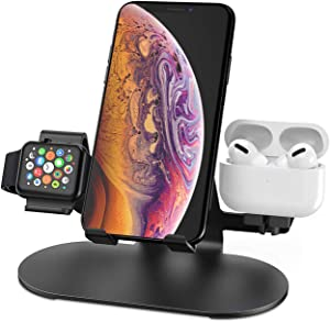 3 in 1 Aluminum Charging Station for Apple Watch : Charger Stand Dock for iWatch Series 5/4/3/2/1,AirPods, iPad, iPhone 11/11 Pro/Xs/X Max/XR/X/8/8Plus/7/7 Plus /6S /6S Plus