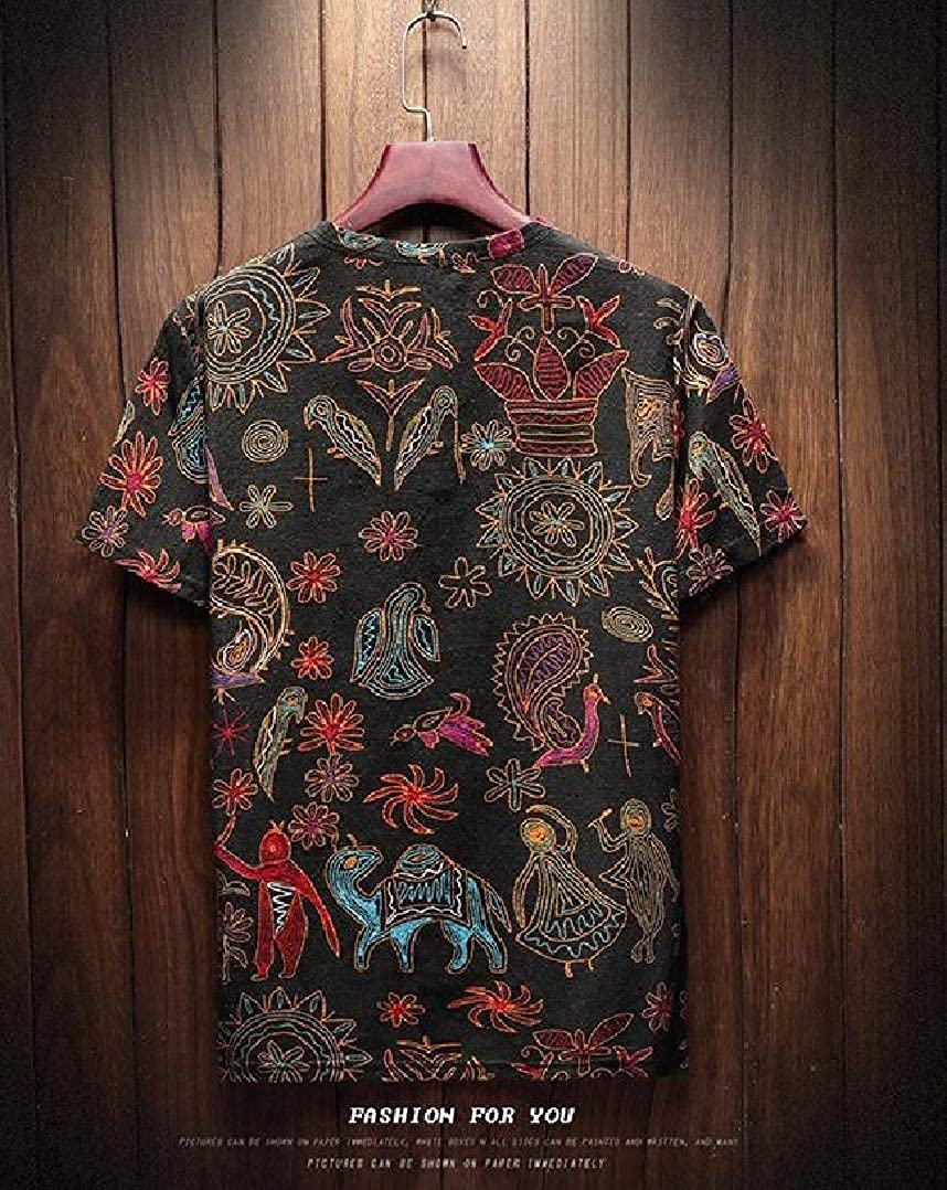 Abetteric Mens Linen Plus Size Printing Ethnic Style Tshirt Tops Tees