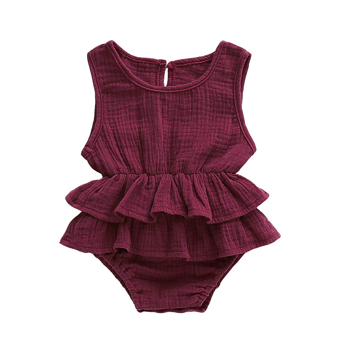 Infant Newborn Baby Girl Romper Bodysuit Ruffle Bowknot One-Piece Jumpsuit Outfit Clothes Summer 0-24M (Wine Red, 18-24 Months)